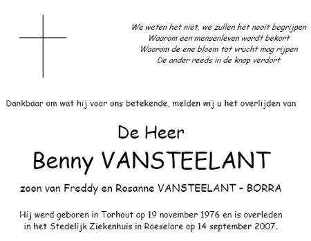 Rouwbrief Benny Vansteelant