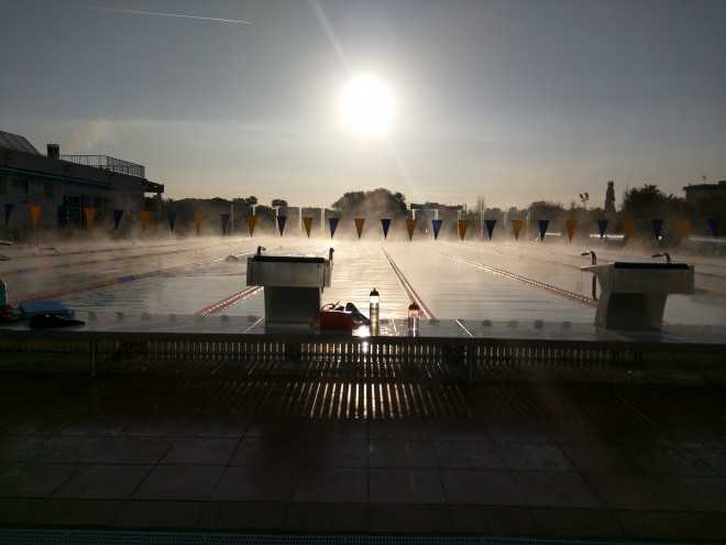 Mallorca swim pool 7 am