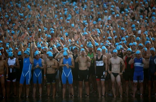 FRANKFURT, GERMANY - JULY 05: Participants await the start of the race during Ironman Frankfurt on July 05, 2015 in Frankfurt, Germany. (Photo by Charlie Crowhurst/Getty Images for Ironman) *** Local Caption ***