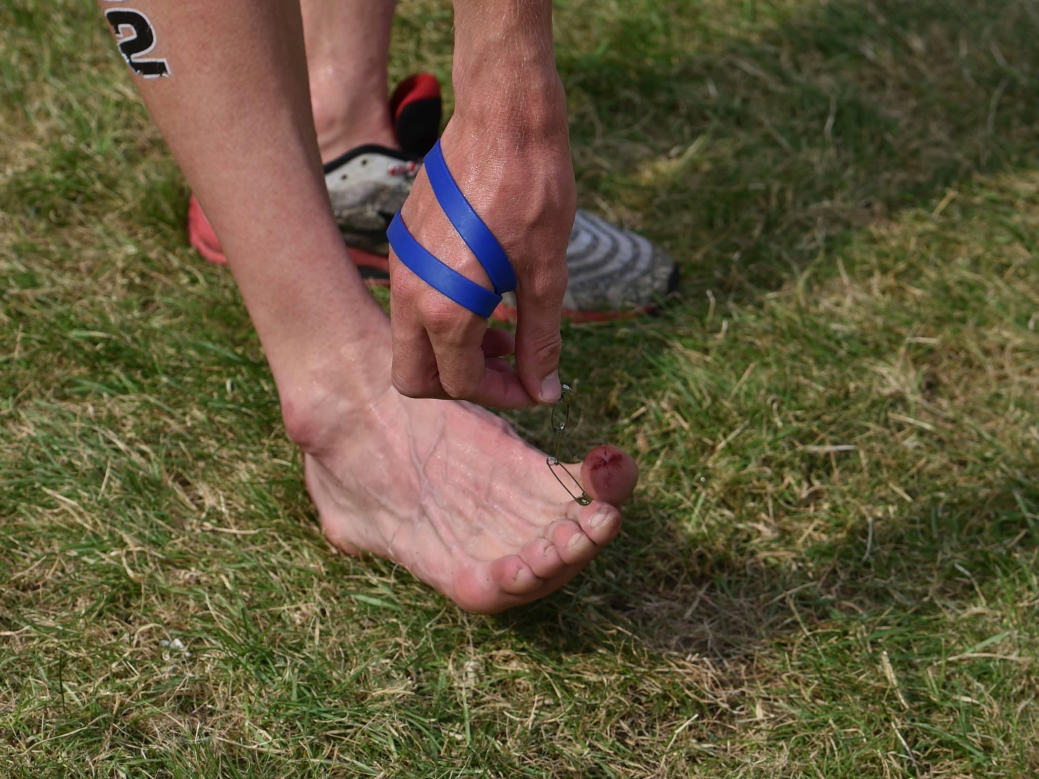 De gevolgen van de veiligheidsspelen in de schoen van Noah (foto: Johan Tack)