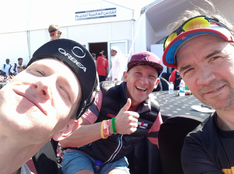 Seppe Odeyn, Koen Lintermans en coach Stefaan op selfie in Dubai :-)