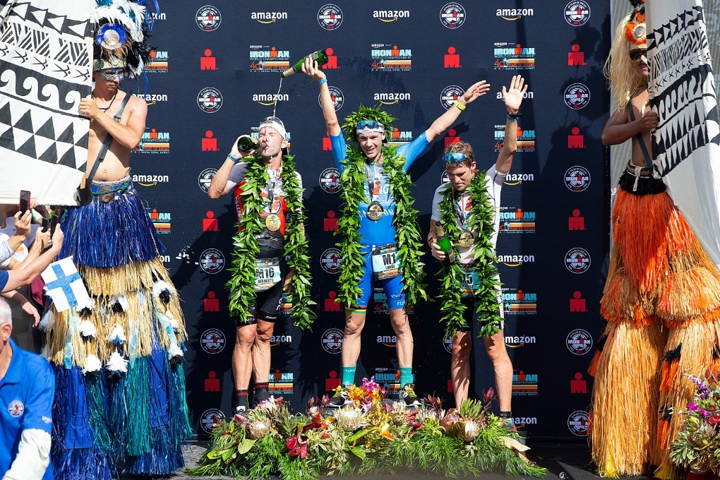 Bart Aernouts op het podium in hawaii (foto: Ingo Kutsche)