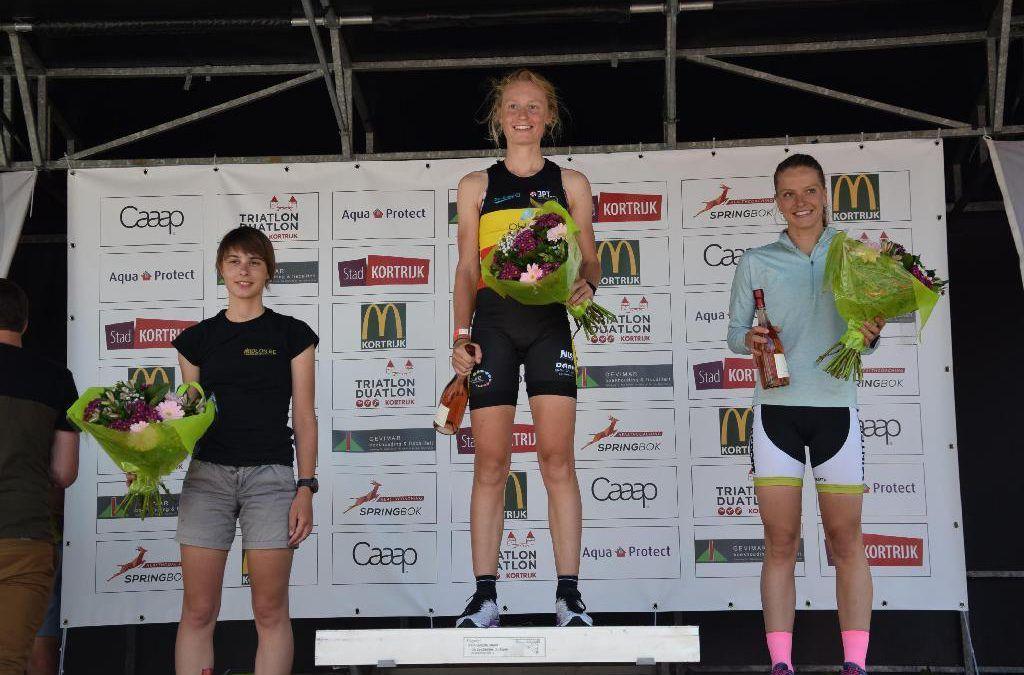 Lotte Claes en Guust De Smul winnen duatlon Kortrijk