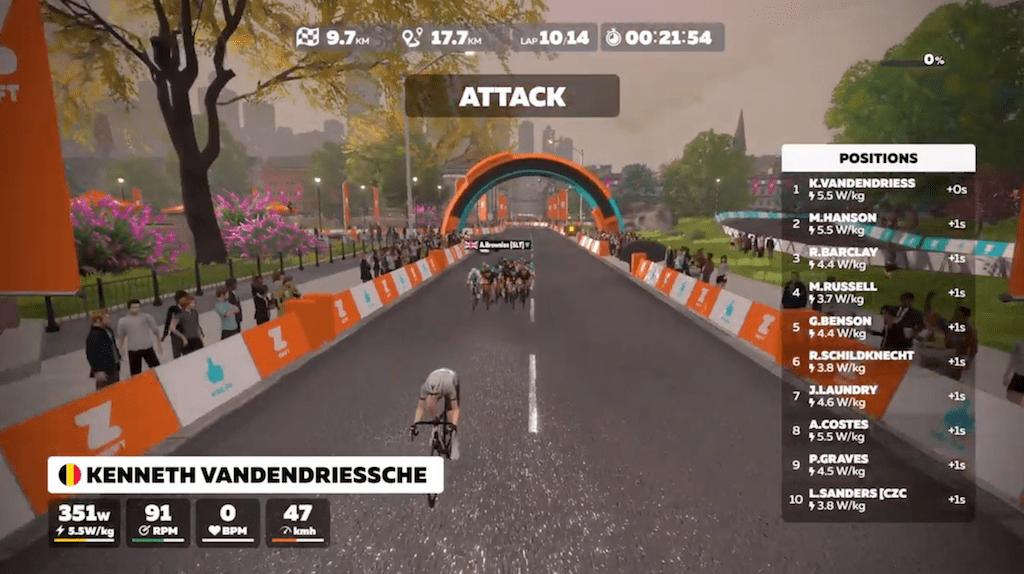 Spannende Zwift Pro Tri race met Belgische aanvallers eindigt in massaspurt