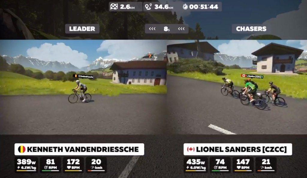 Aanvallende Kenneth Vandendriessche nipt geklopt in Zwift Pro Tri race