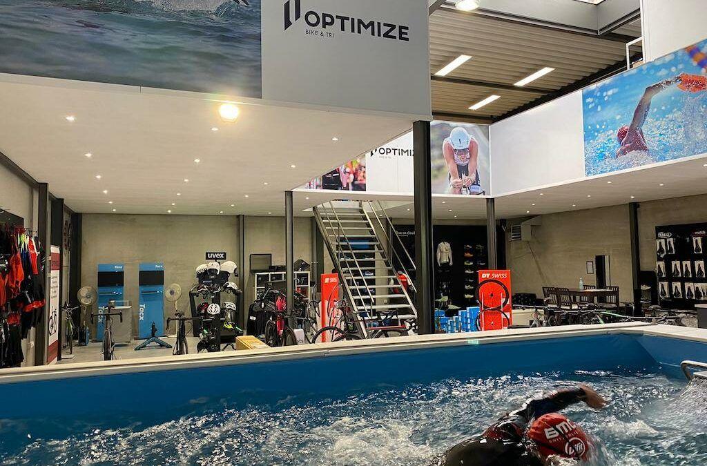 Werk je zwemtechniek bij in tegenstroombad bij Optimize Bike & Tri