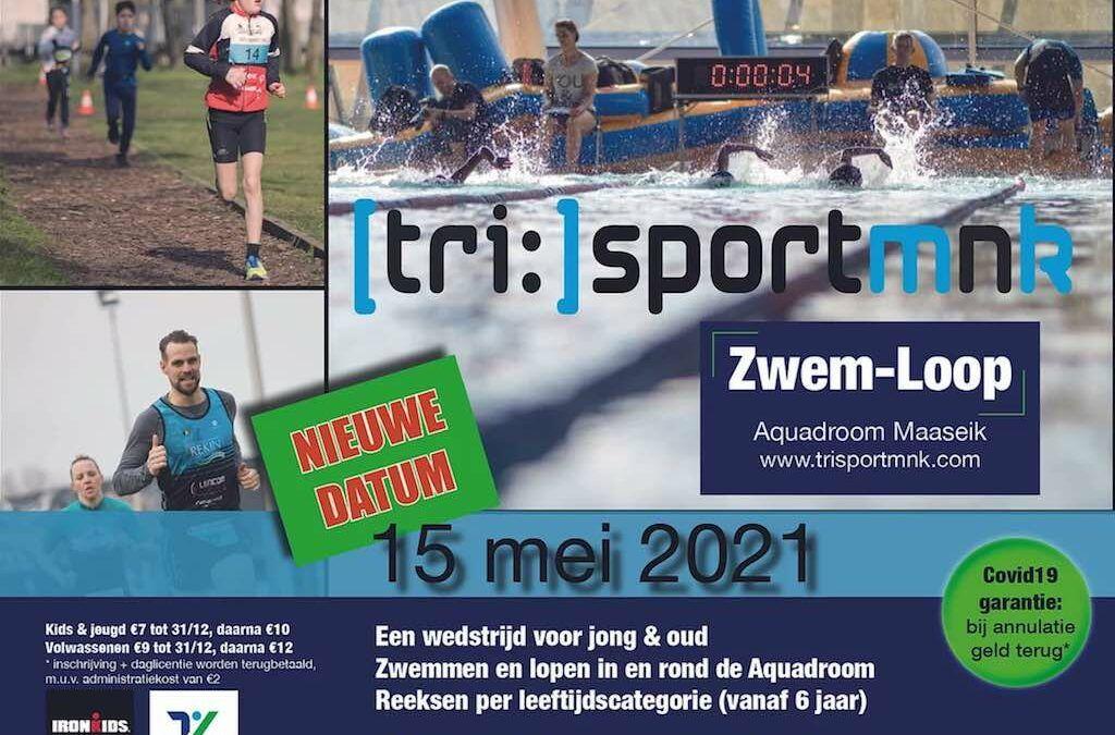 TrisportMnK organiseert uitverkochte zwemloop aan het Aquadroom in Maaseik