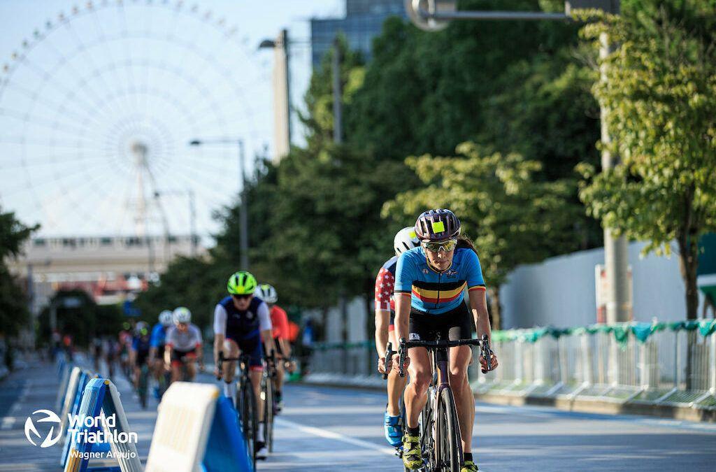 De Belgische triatleten in beeld op het parcours van de olympische triatlon in Tokyo