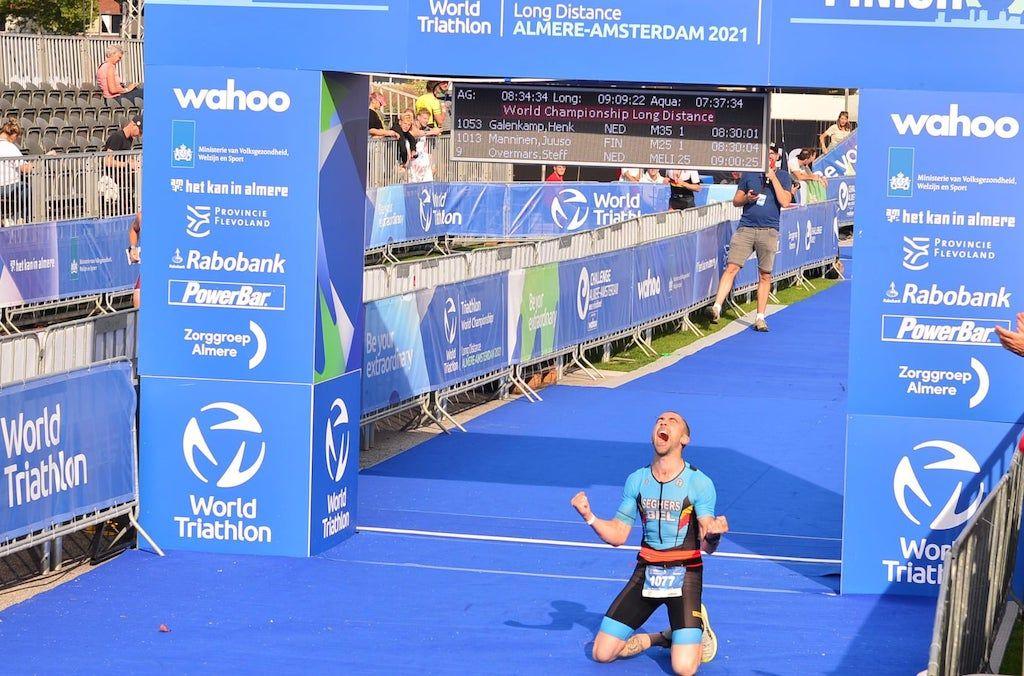 Drie Belgische triatleten vice-wereldkampioen age group in Almere, alle WK-Belgen op een rijtje